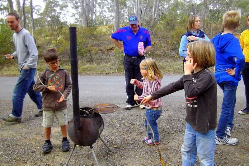 Kids roasting marshmallows.