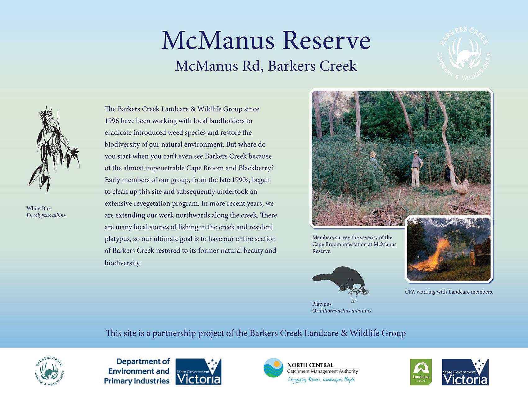 Signage at McManus Reserve