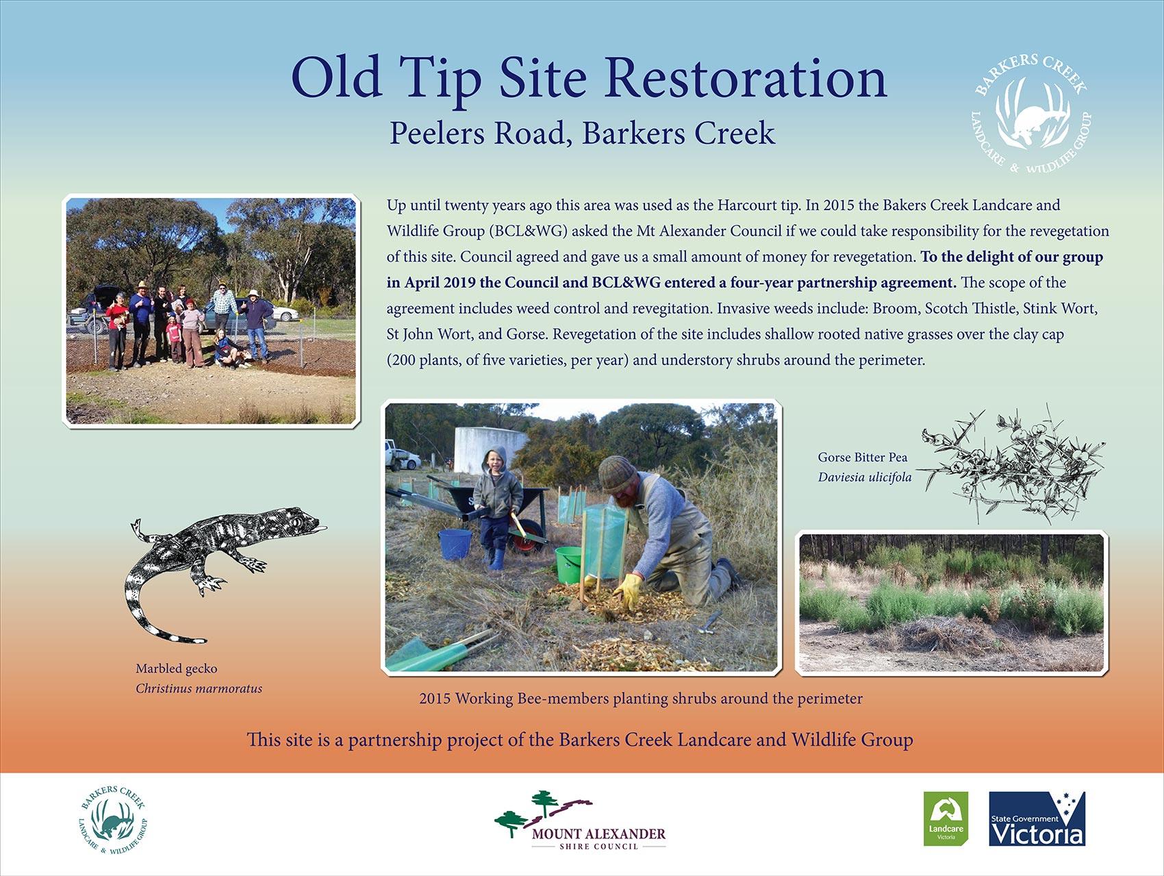 Signage at Old Tip Restoration Site